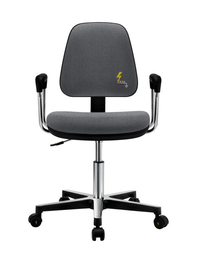 sedia antistatica da ufficio con braccioli in acciaio e paracolpi neri dotata di rotelle e regolabile