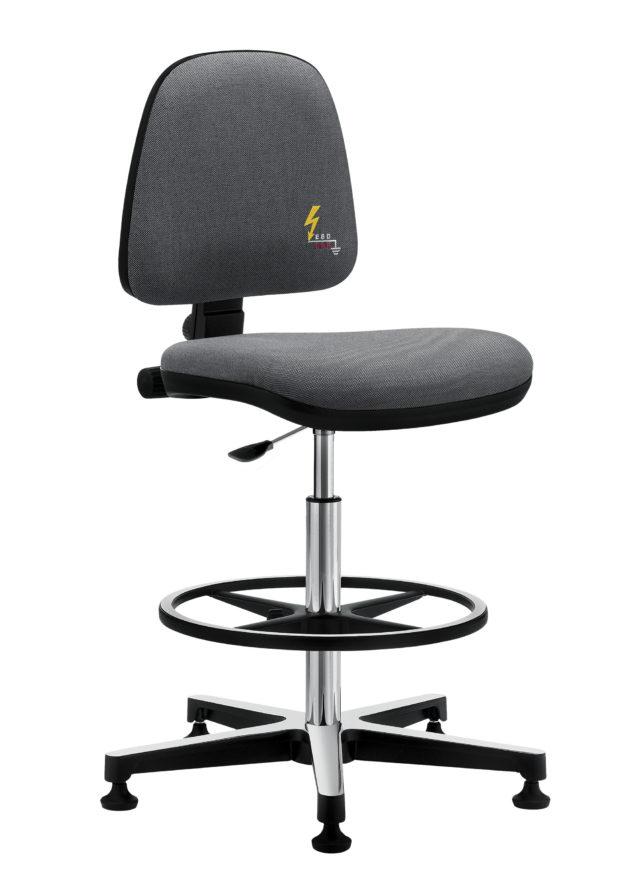 sedia ufficio girevole antistatica senza ruote con poggiapiedi regolabile