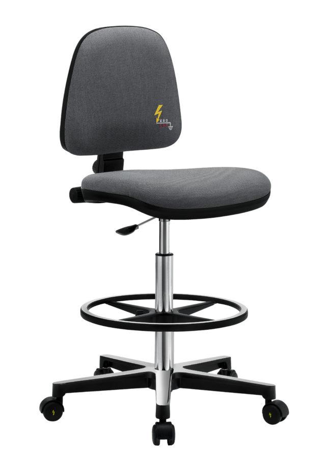 sedia ufficio antistatica con poggiapiedi nero e route
