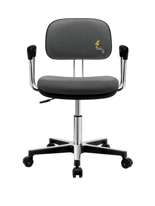 sedia antistatica da ufficio con braccioli in acciaio e struttura a cinque razze in acciaio con ruote dotata di regolazione di altezza e schienale bloccabile
