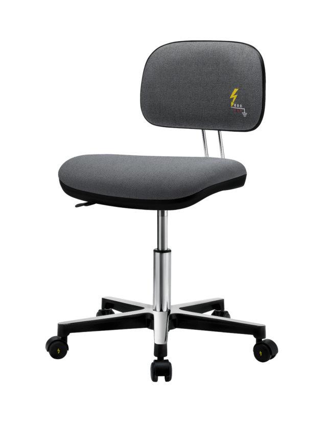 sedia ufficio antistatica con base in acciaio lucidato e seduta grigia dotata di meccanismo di regolazione altezza a gas