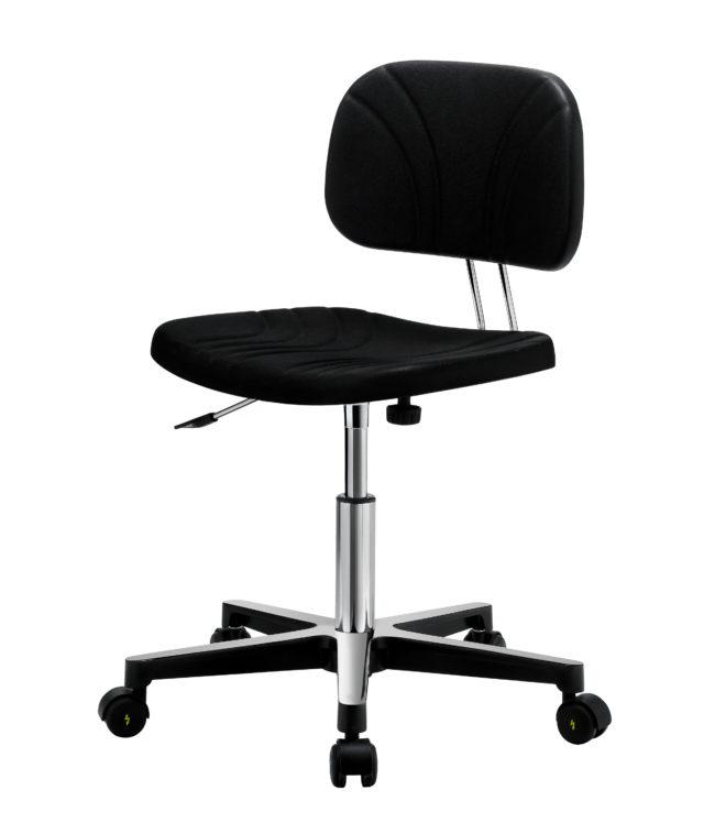sedia da scrivania girevole senza braccioli con base a 5 razze con ruote e seduta e schienale in colore nero