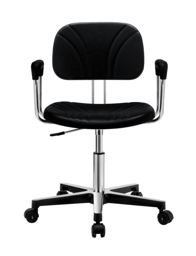 sedia ufficio con ruote e con braccioli in acciaio lucidato colore nero