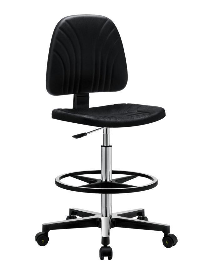 sgabello girevole nero con poggiapiedi e rotelle regolabile in altezza e schienale regolabile