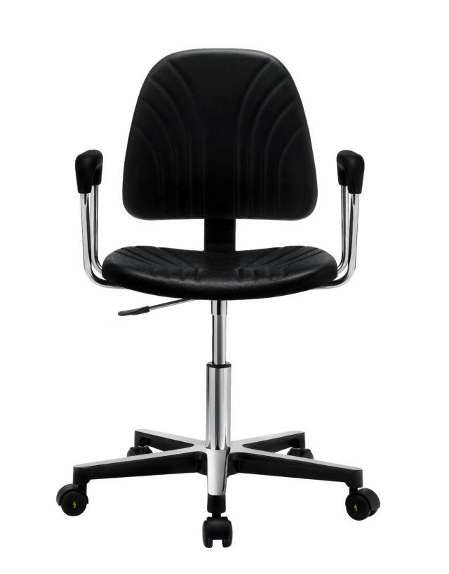sedia ufficio girevole con braccioli in acciaio lucido e base con ruiote