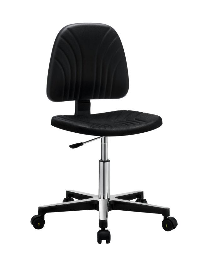 sedia senza braccioli nera con base in acciaio lucidato con ruote