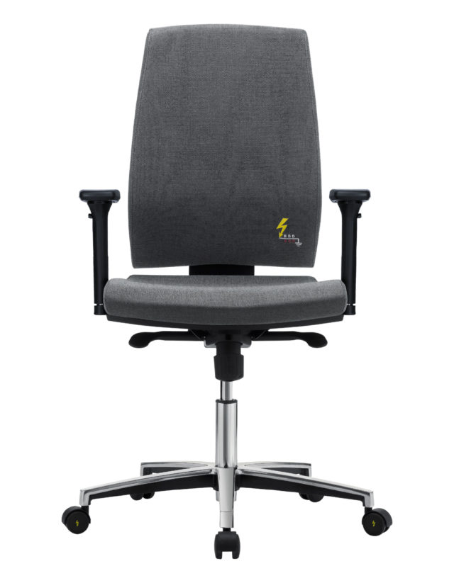sedia ufficio elettrostatica conbraccioli e regolabile in altezza