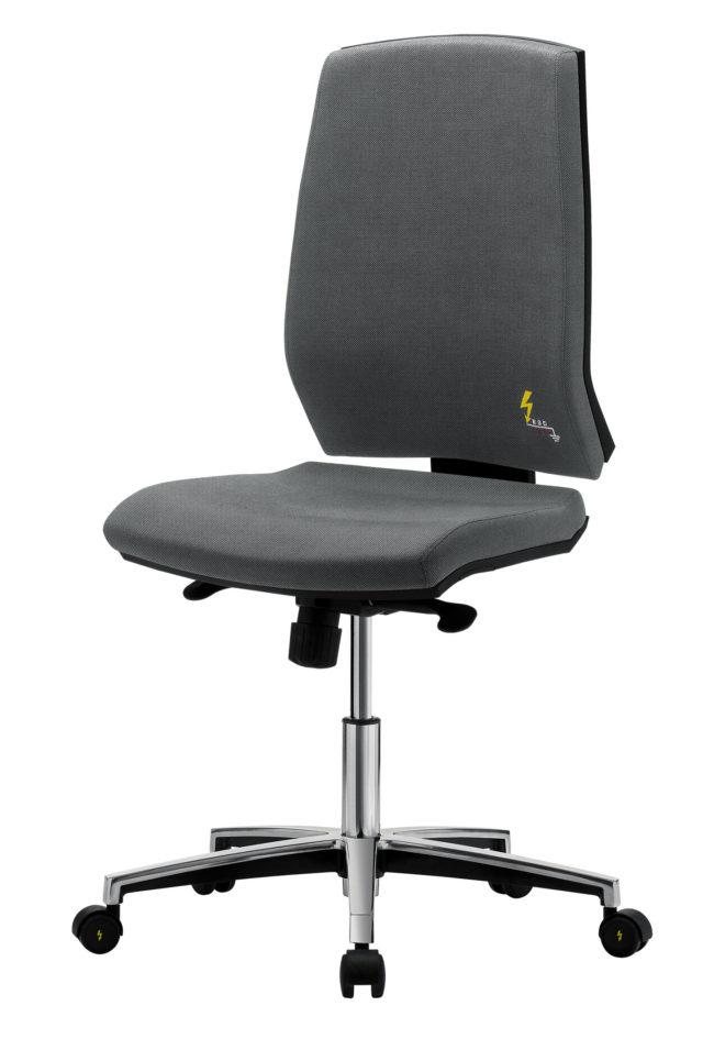 sedia ufficio elettrostatica senza braccioli regolabile e con ruote