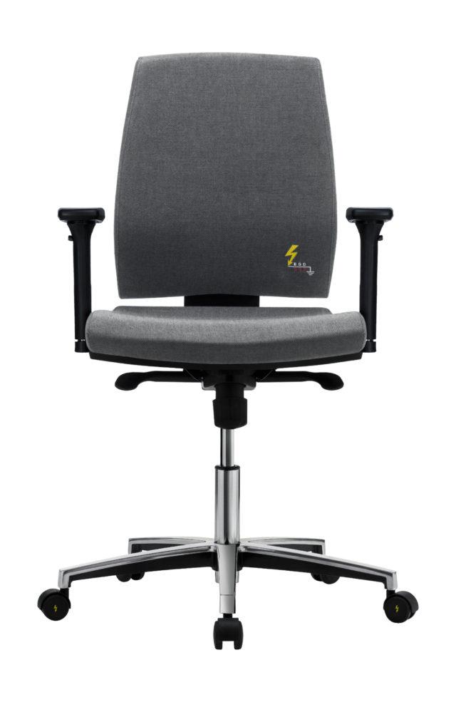 sedia ufficio elettrostatica con ruote e braccioli