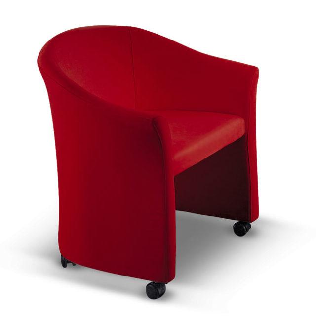 poltroncina di design per sala d'attesa Aron colore rosso con ruote