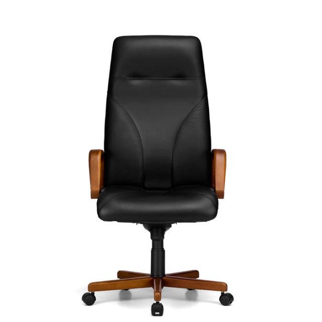 sedia presidenziale con seduta in pelle nera e struttura marrone