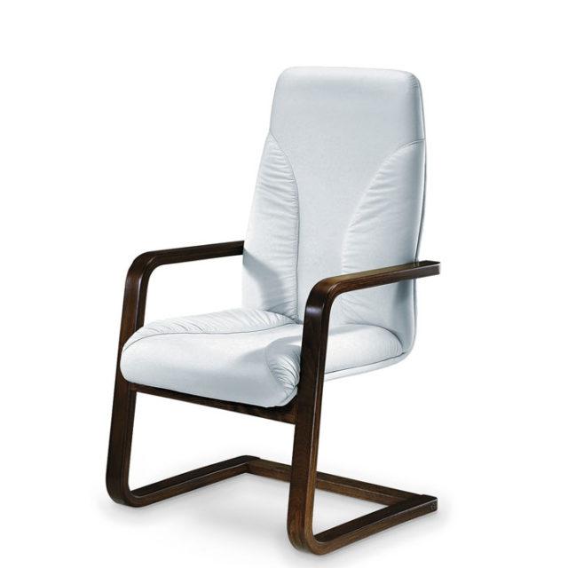 sedia ufficio design con struttura in acciaio nero e seduta bianca