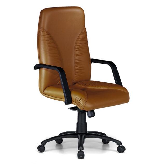 sedia presidenziale in pelle marrone e struttura nera