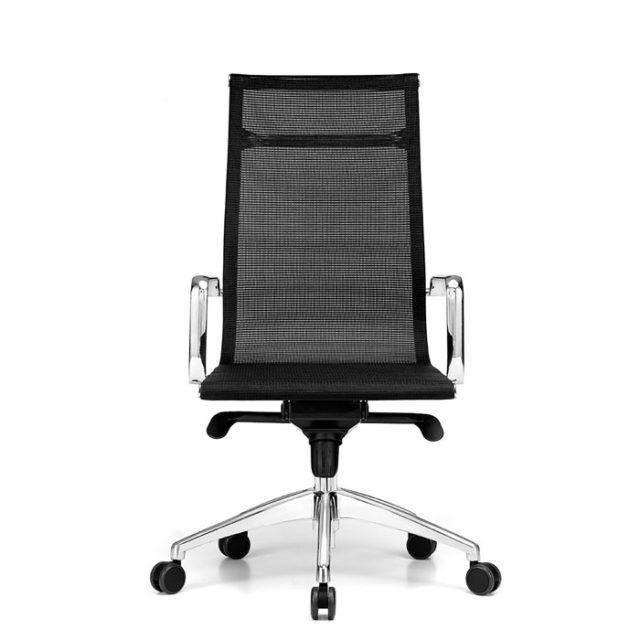 sedia presidenziale con struttura in acciaio lucido e seduta nera
