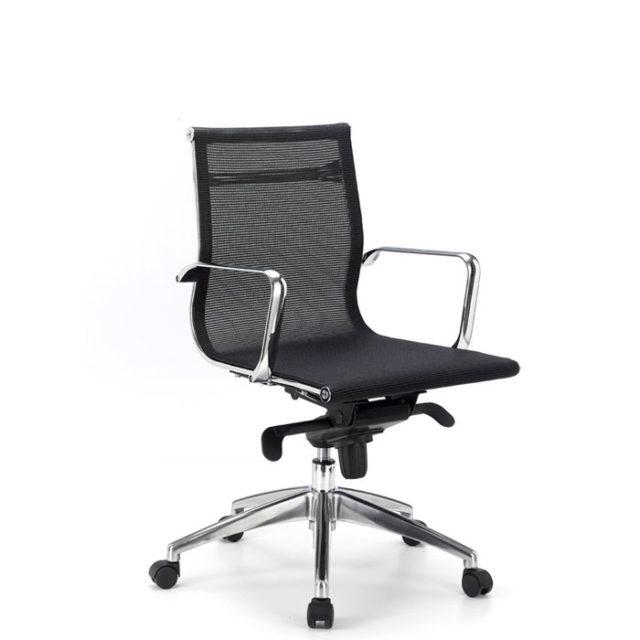 sedia ufficio in acciaio con seduta in rete nera