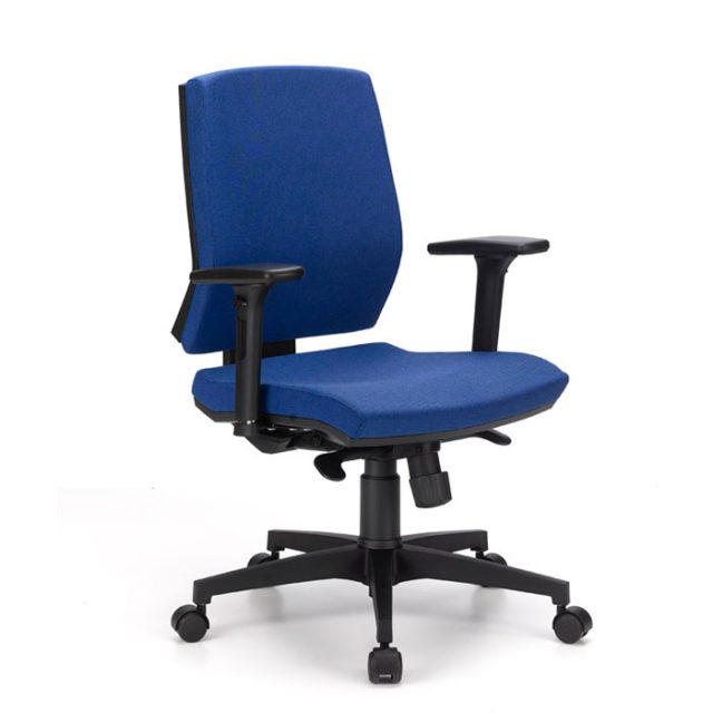 sedia ufficio con braccioli e ruote colore blu