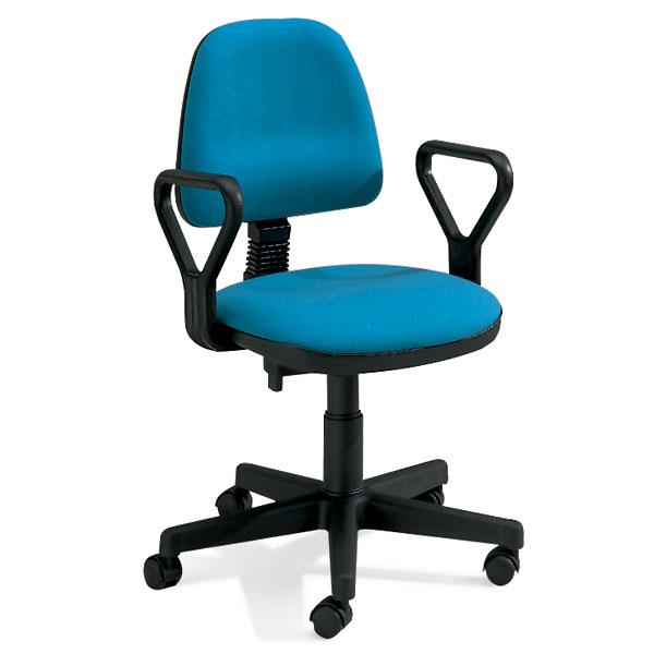 sedia da ufficio girevole con ruote e braccioli con seduta e schienale turchese