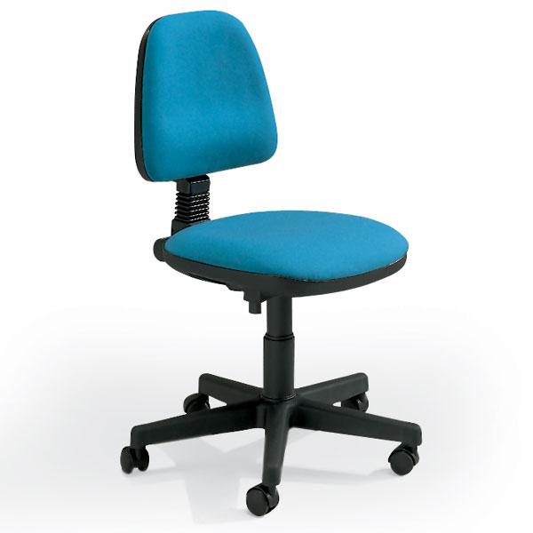 sedia girevole da ufficio con route e con seduta e schienale turchese senza braccioli