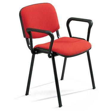 sedia per sale d'attesa o conferenze a 4 gambe in acciaio nero e braccioli