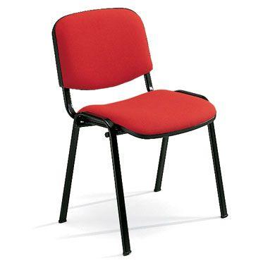 sedia da attesa o per sala conferenze con quattro gambe in acciaio nero e seduta e schienale imbottiti rossi