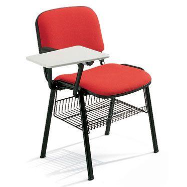sedia singola da sala conferenze con base a 4 gambein acciaio verniciato e portaoggetti sotto la seduta