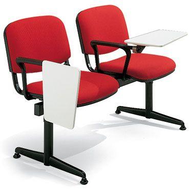 set 2 sedute per sala conferenze con barra d'appoggio in acciaio nero e bracciolo con tavoletta