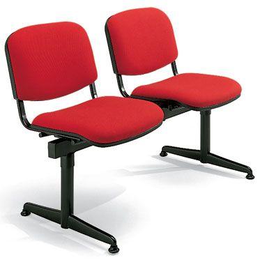 set 2 sedie con barra d'appogio e seduta imbottita rivestita rossa
