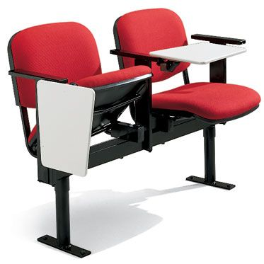 set 2 sedie per sala conferenze imbottite con braccioli e tavoletta con barra portante in acciaio nero