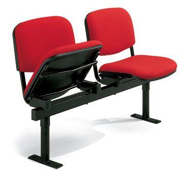 set 2 sedie per sala d'attesa con seduta basculante e barra portante in acciaio verniciato nero