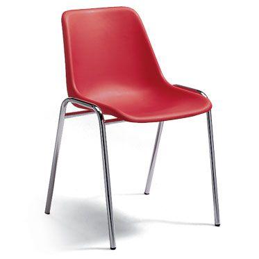 sedia per sala d'attesa economica con struttura in alluminio e seduta rossa