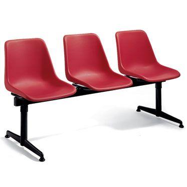 set 3 sedie per sala d'attesa con barra portante nera in acciaio verniciato