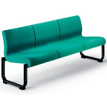 divanetto per sala d'attesa a tre posti Eden con struttura portante in acciaio nero