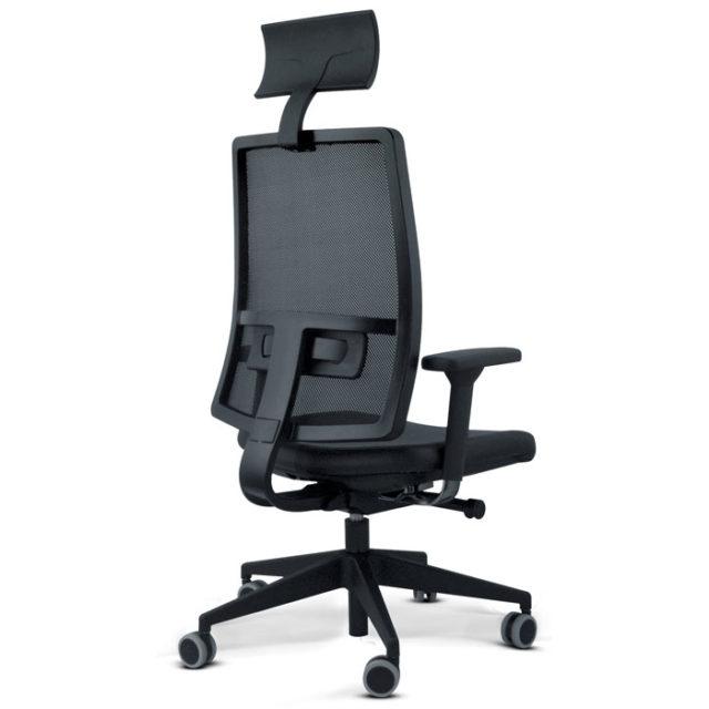 retro sedia presidenziale nera con braccioli e poggiatesta