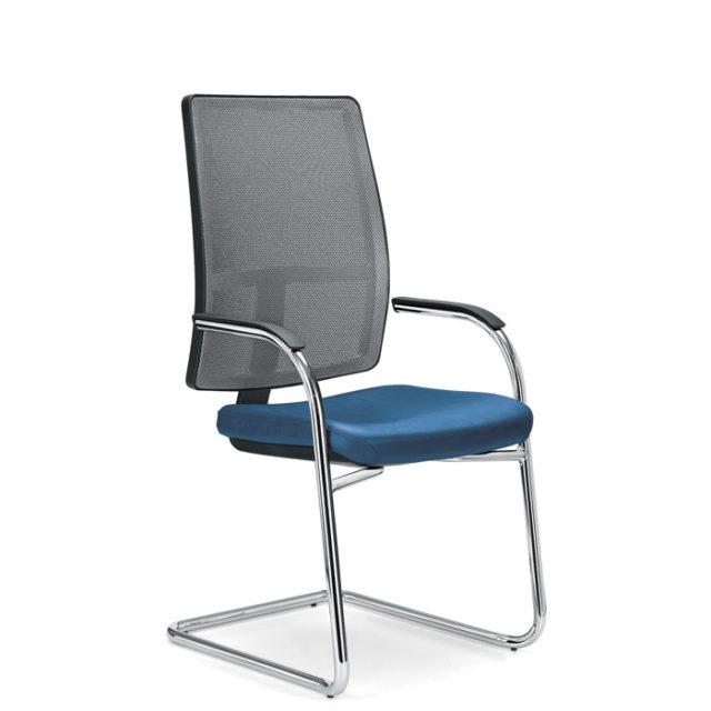 sedia ufficio a slitta con seduta turchese e schienale grigio