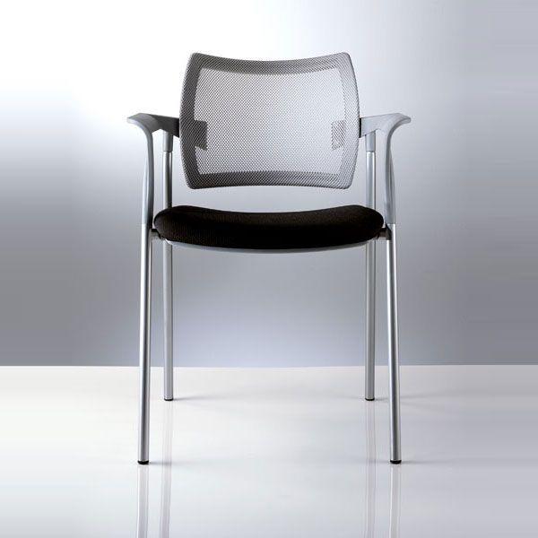 sedia per ufficio o sala d'attesa con 4 gambe con seduta nera e schienale grigio