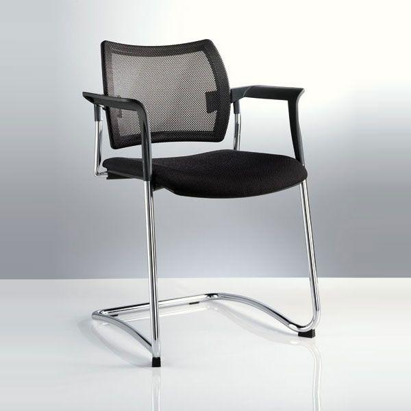 sedia per ufficio o sala d'attesa con base a slitta nera