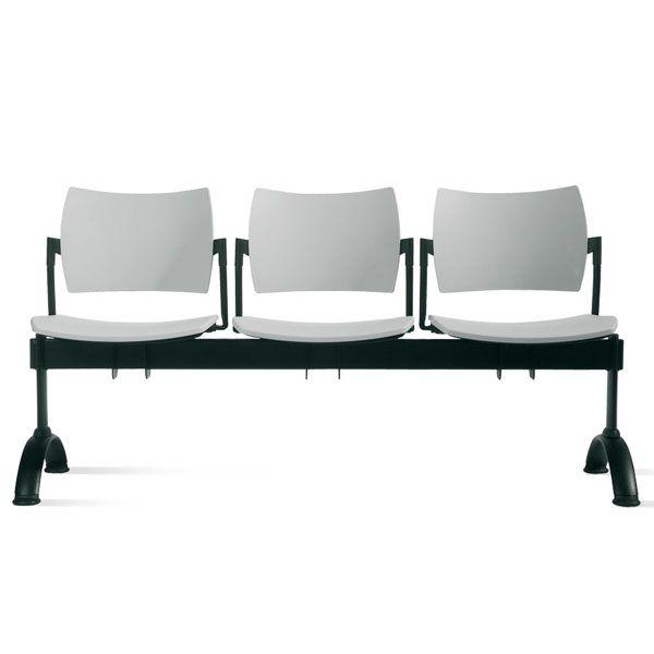 sedie per conferenze con barra di sostegno nera in acciaio e schienale alto
