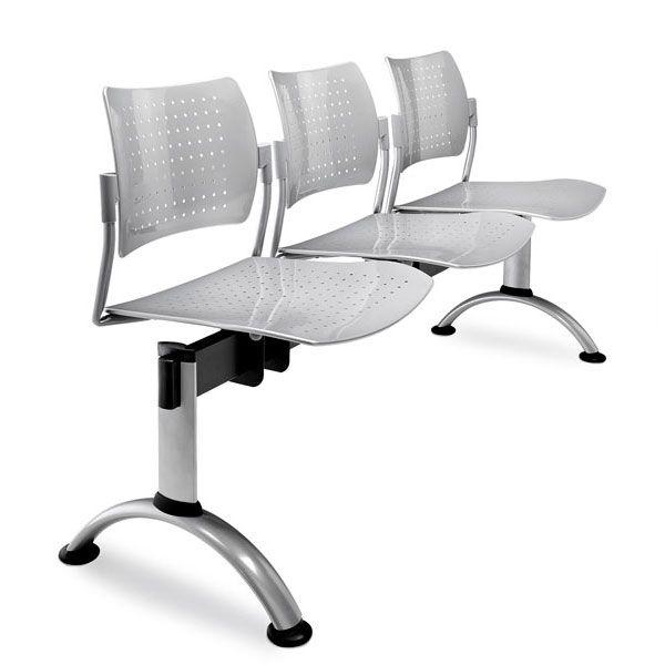 sedie per sale conferenze con barra d'appoggio in acciaio