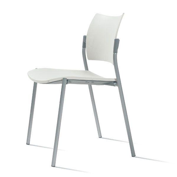 sedia per ufficio o sala d'attesa con gambe in acciaio e schienale alto