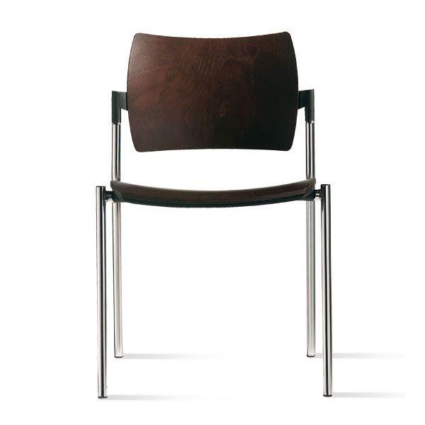 sedia per ufficio o sala d'attesa con gambe in acciaio e seduta alta