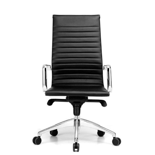 sedia ufficio presidenziale con struttura in acciaio lucido e seduta in pelle o ecopelle
