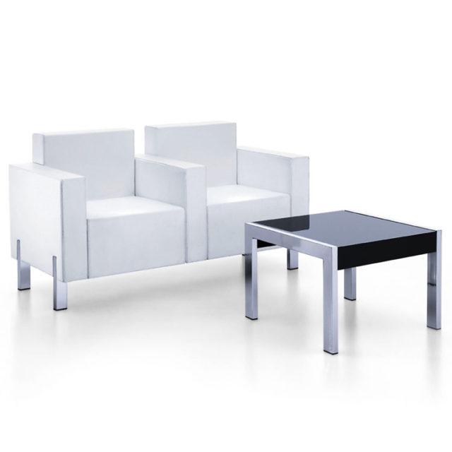 combinazione per sala d'attesa con doppia poltroncina Kubia e tavolino in acciaio