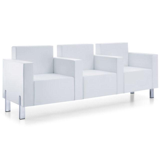 combinazione di tre poltrone per sala d'attesa tipo divanetto con design squadrato e piedini in acciaio