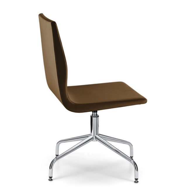 sedia da ufficio o da attesa di design moderno con base a 4 razze curve in acciaio lucidato