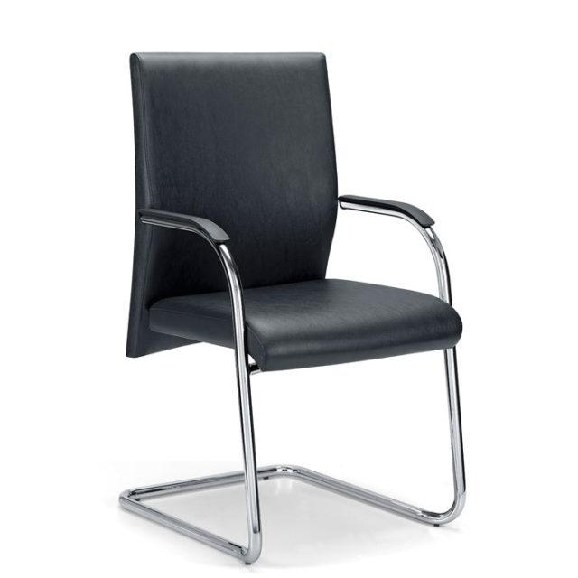 sedia da ufficio o da attesa in pelle con struttura in acciaio a slitta