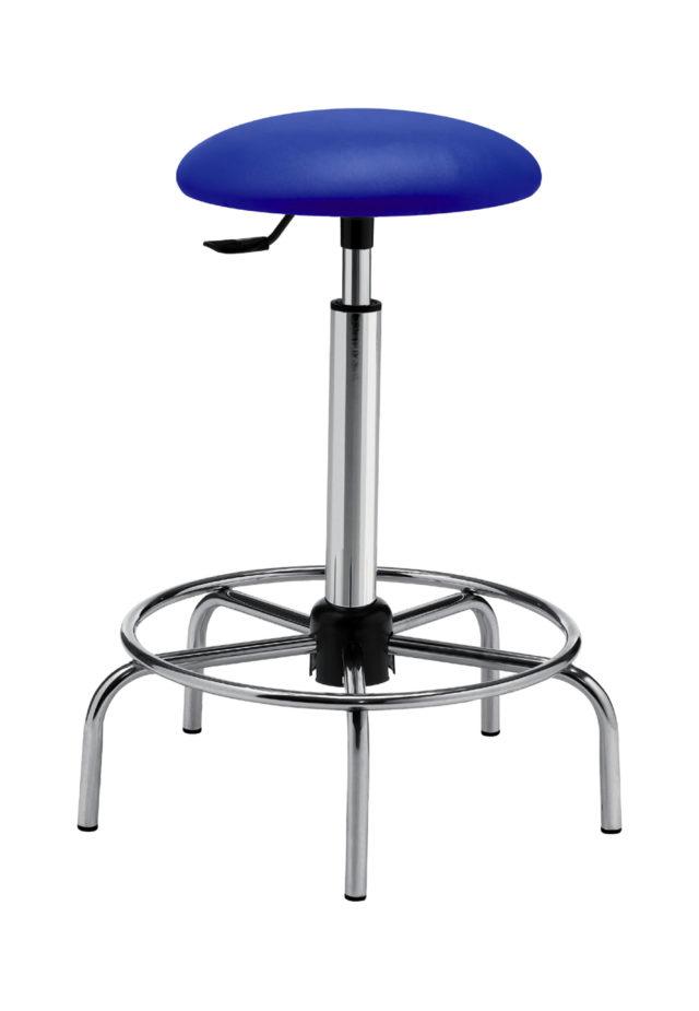 sgabello a seduta tonda imbottita e altezza regolabile con base con poggiapiedi e senza ruote