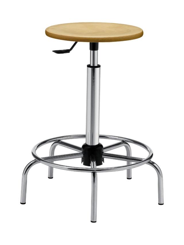 sgabellino per laboratorio con seduta tonda in legno di faggio e base con poggiapiedi senza rotelle