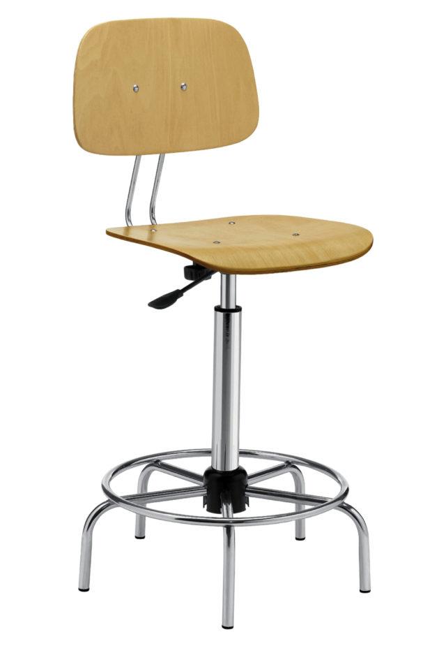 sgabello alto con schienale e seduta in faggio con altezza regolabile a gas e base con poggiapiedi senza ruote