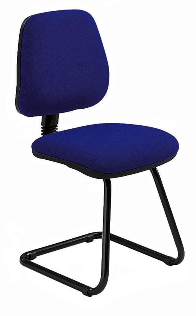 sedia da ufficio o da attesa con struttura a slitta e seduta e schienale imbottiti