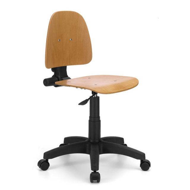 sgabello da lavoro con seduta e schienale in faggio e base nera con rotelle